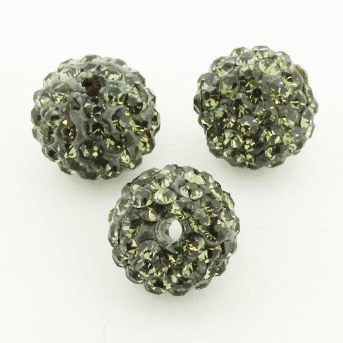 Shamballa Bead 10mm Round - Dark Black Diamond