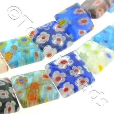 Millefiori - Flat Square 12mm - Mixed