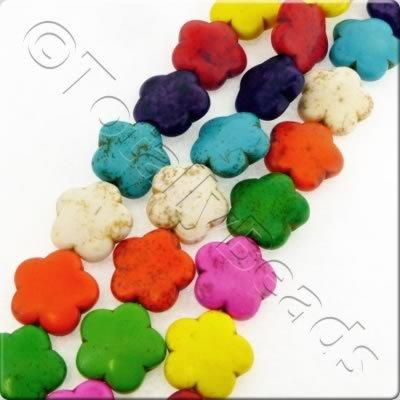 Synthetic Turquoise Flower 16mm - Mixed