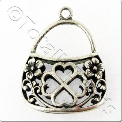 Tibetan Silver Charm - Filigree Purse