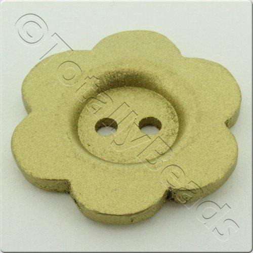 Wooden Flower Button 50mm - Gold