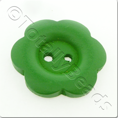 Wooden Flower Button 27mm - Green