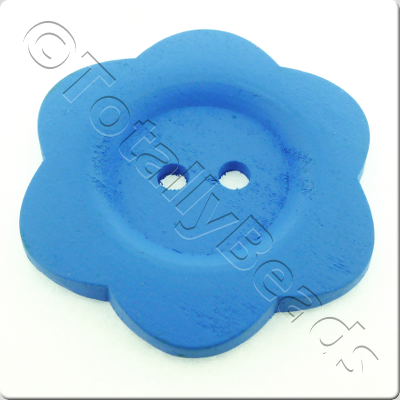 Wooden Flower Button 50mm - Blue