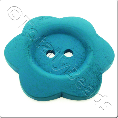 Wooden Flower Button 50mm - Turquoise