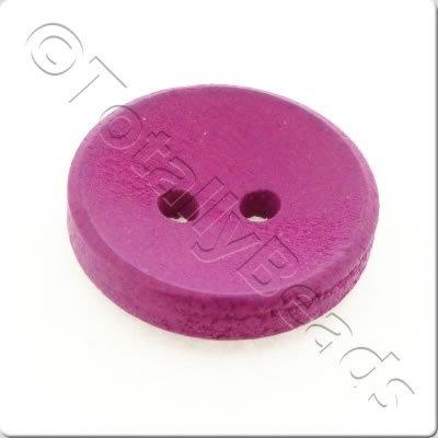 Concave Wooded Button 15mm - Hot Pink
