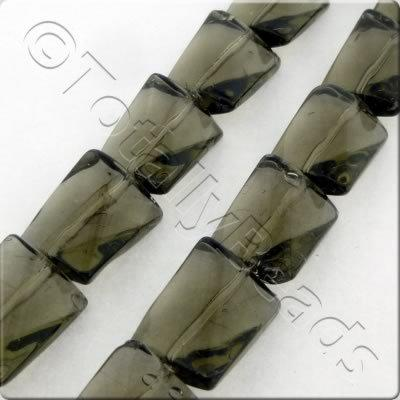 Glass Twisted Rectangle - 15x11mm - Grey - 20pcs