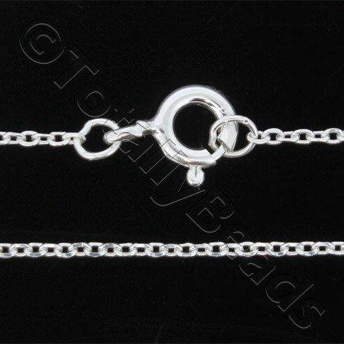 Sterling Silver 925 Chain Necklace Oval 1.2mm 18 inch
