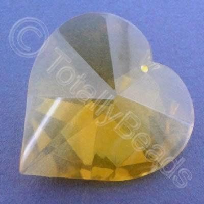 Glass Pendant Heart Yellow - 40mm