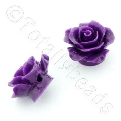 Acrylic Rose 15mm 1 Row - Purple 4pcs