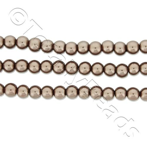 Glass Pearl Round Beads 3mm - Mink
