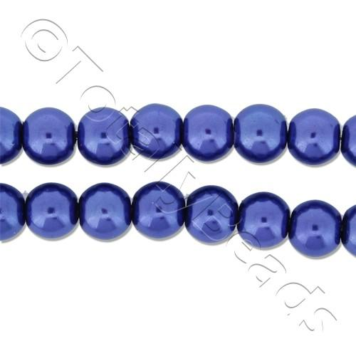 Glass Pearl Round Beads 6mm - Cobalt Blue