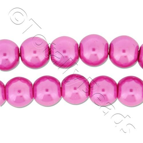 Glass Pearl Round Beads 8mm - Pink