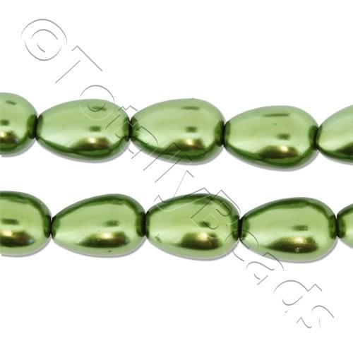 Glass Pearl Drop 6x9mm - Olive