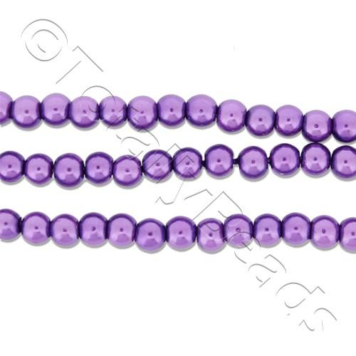 Glass Pearl Round Beads 3mm - Amethyst