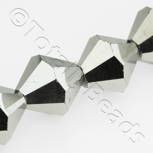 Crystal Bicone 10mm - Silver Plate 30pcs