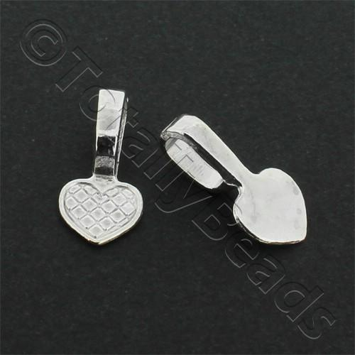 Silver Plated Bail - Large Heart