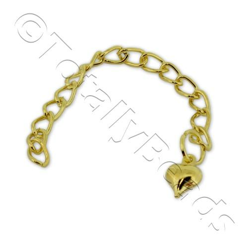 Extension Chain - Heart 80mm - Gold