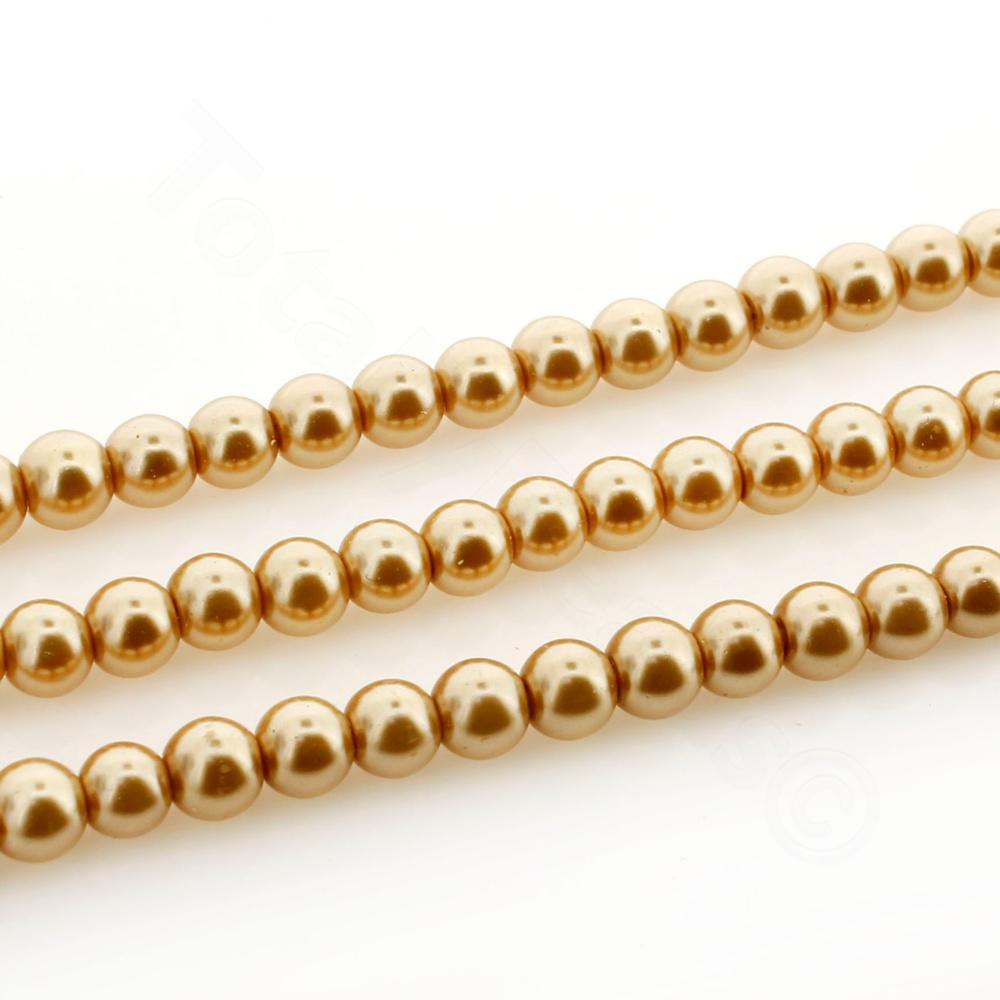 Glass Pearl Round Beads 4mm - Gold