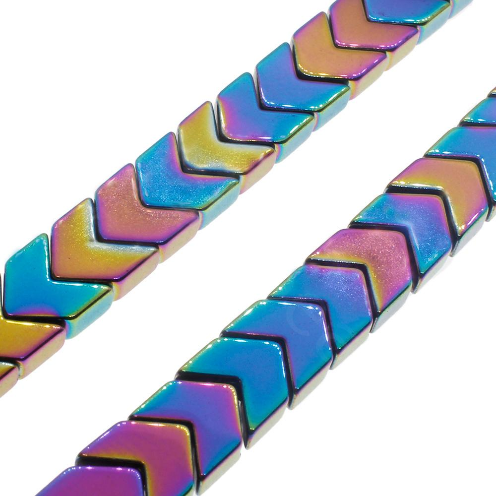 Hematite Chevron 4mm - Rainbow Plated