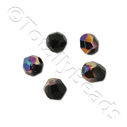 Czech Fire Polished 4mm Faceted - Vitex Jet Black - 100pcs