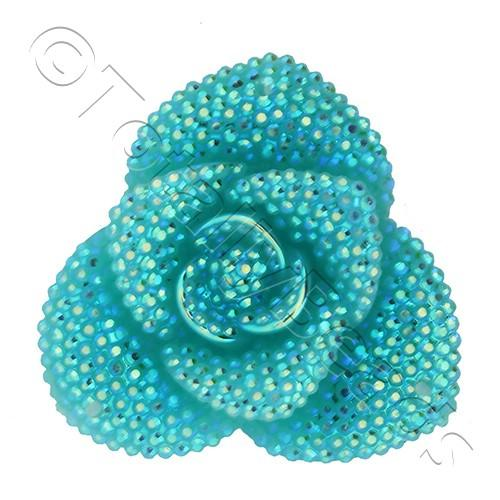 Resin Sparkle 3 Point Flower 40mm - Sea Green