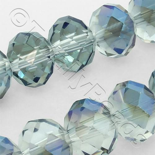 Crystal Rondelle 8x10mm - Clear Blue Rainbow