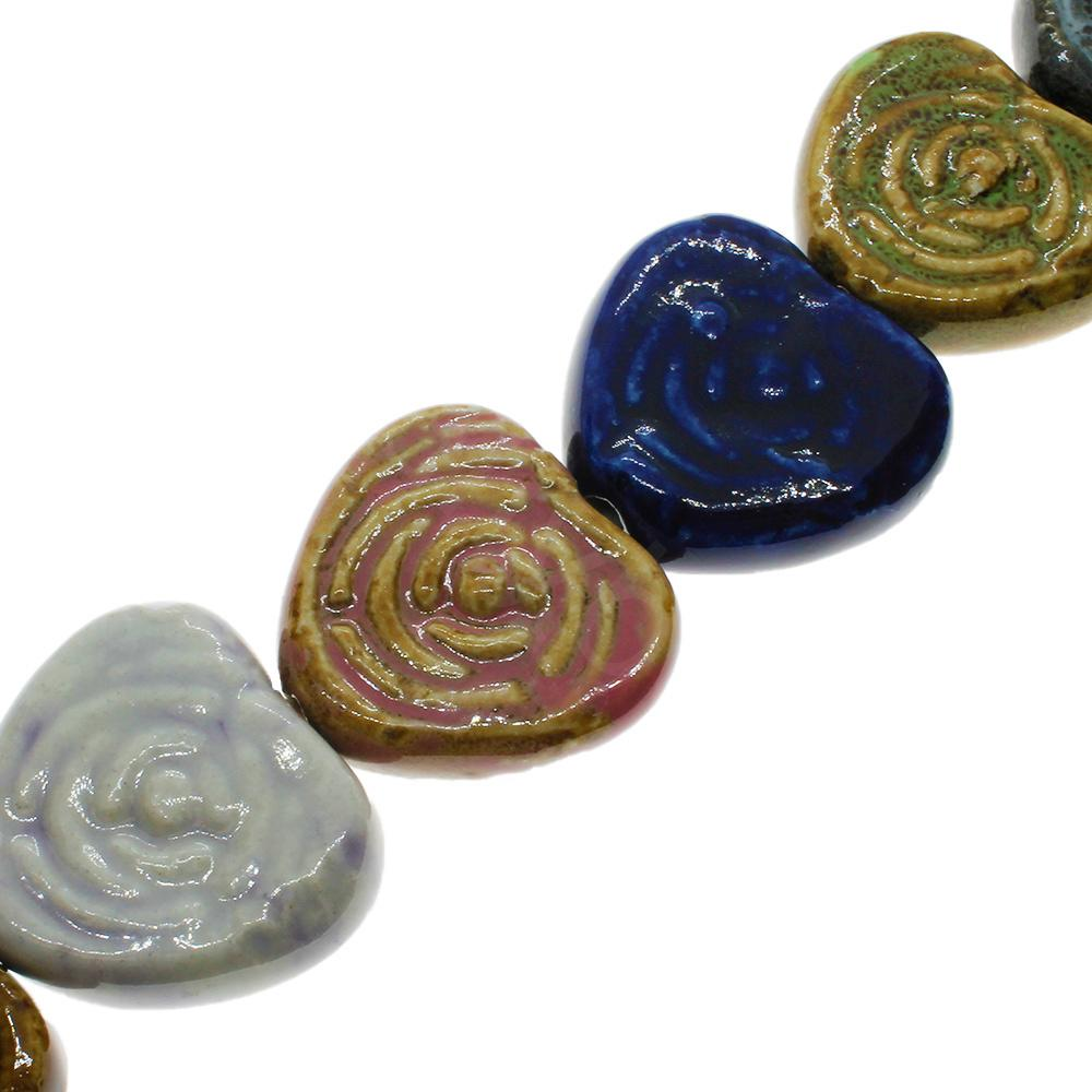 Ceramic Beads - Fluted Heart 30x20mm - Mixed