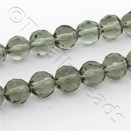 Faceted Glass 6mm Round - Charcoal Grey