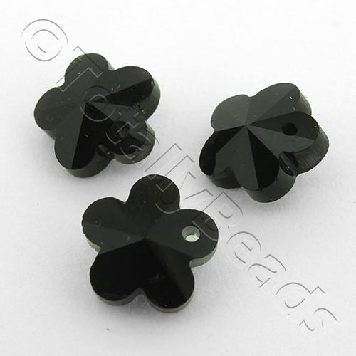 Crystal Charm Flower 10mm - Jet Black 10pcs