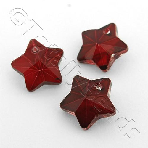 Crystal Charm Star 10mm - Dark Siam 10pcs