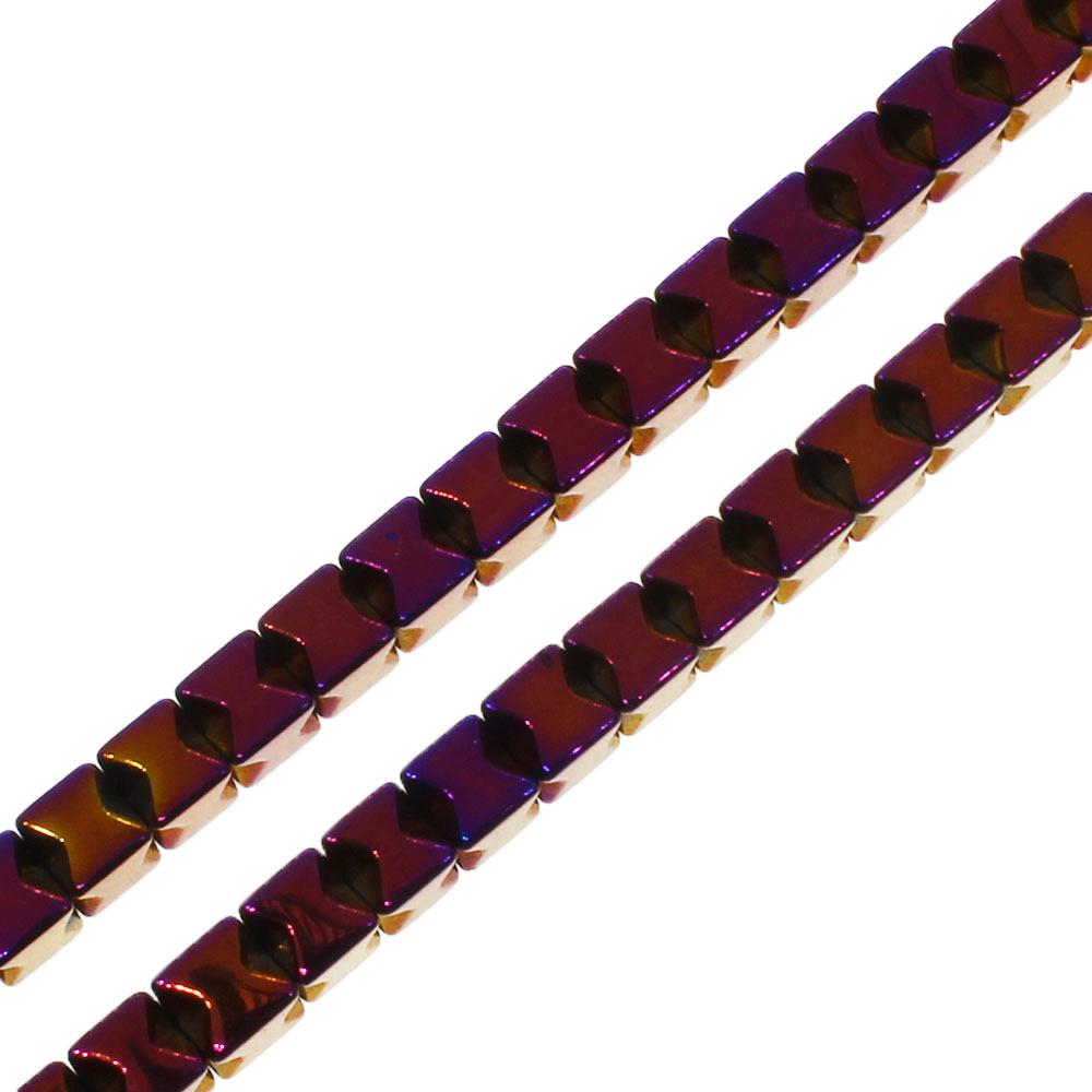 Hematite X Cube 3mm - Purple Plated