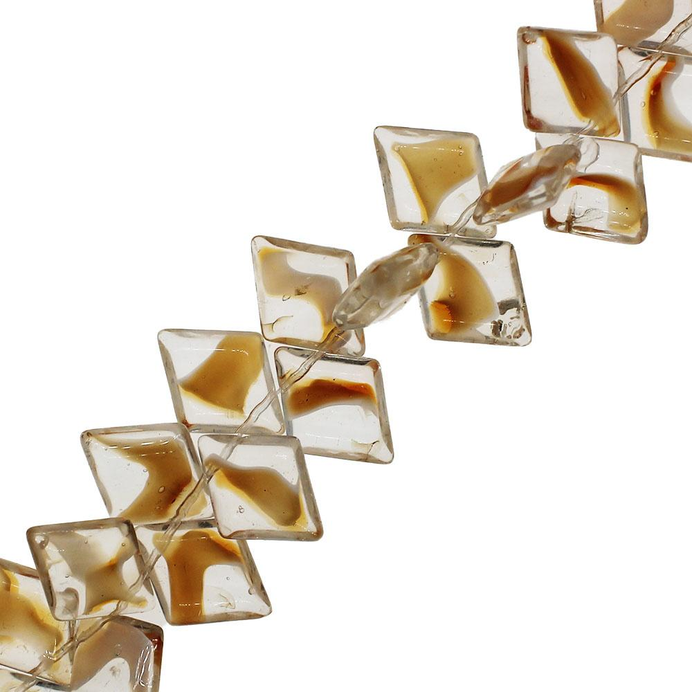 Glass Top Drilled Rhombus - 18x14mm - Clear-Orange - 28pcs