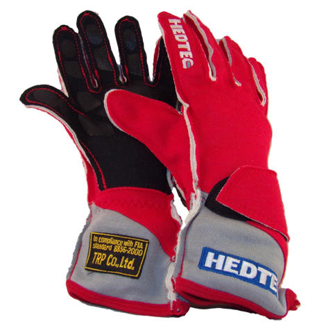 Red Hedtec FIA gloves from racewear.co.uk