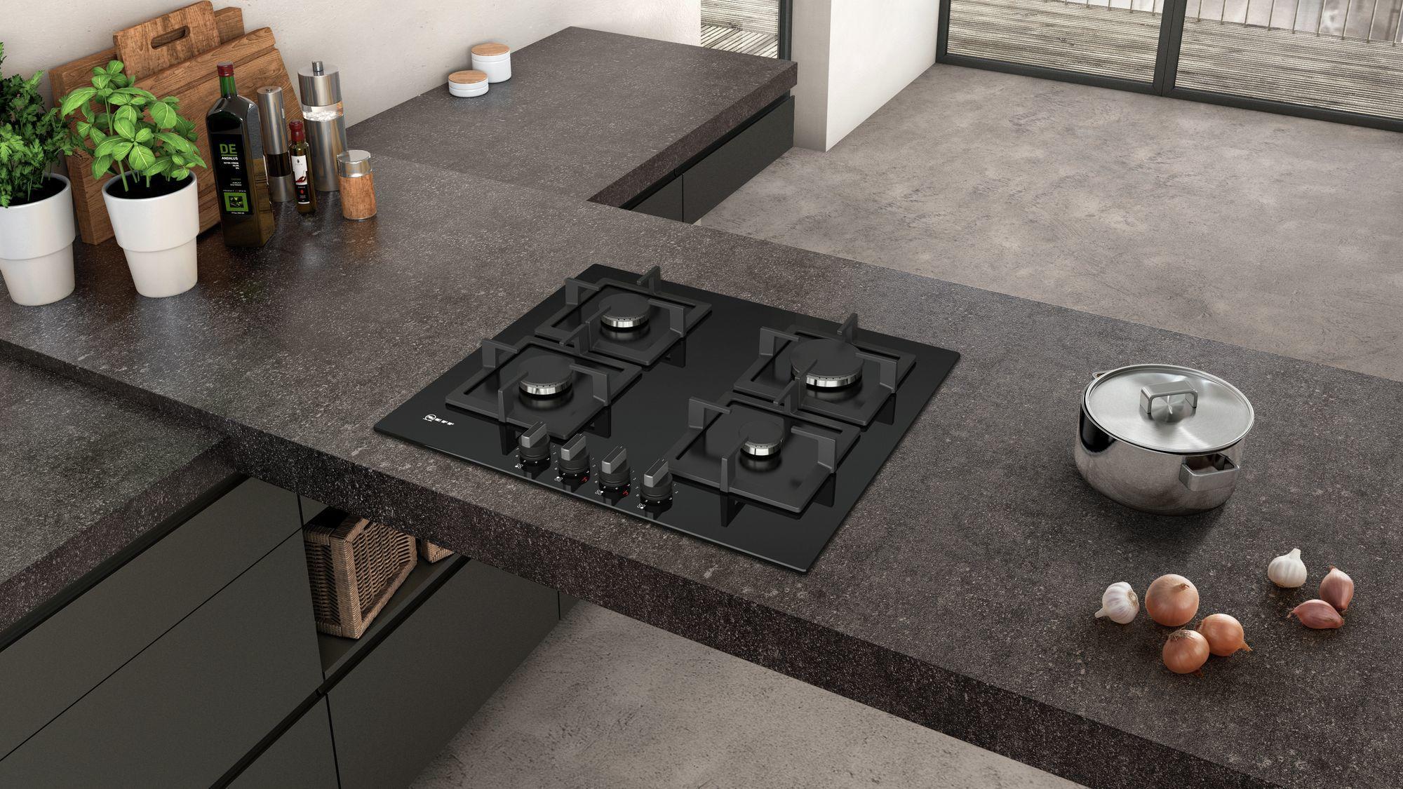 Neff t26ca42s0 black 60cm 4 burner gas hob neff249 for Plaque inox cuisson