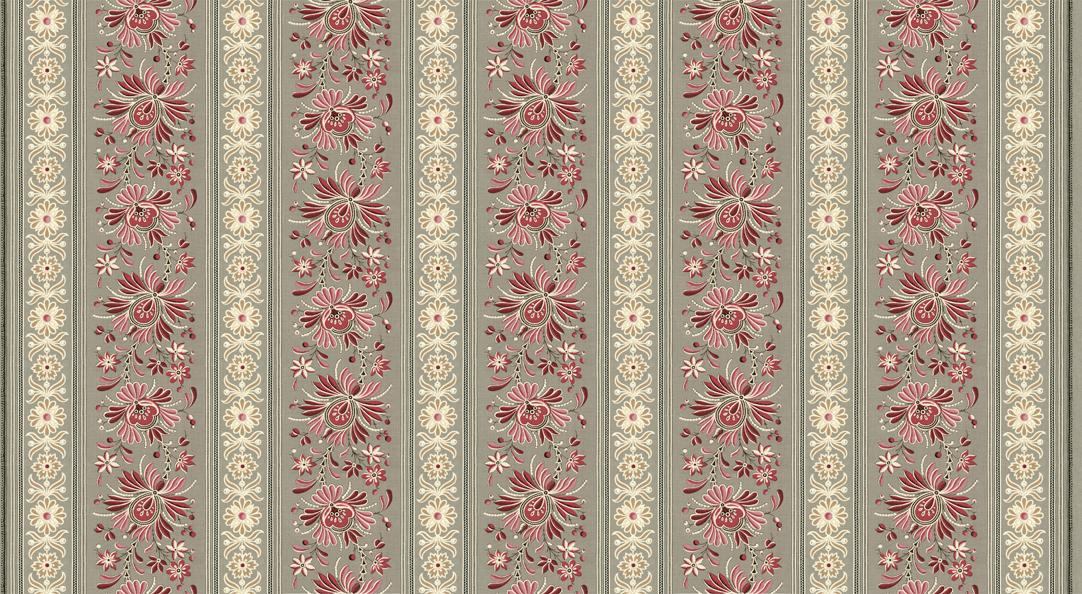 Moda French General Pondicherry Floral Calico Fabric in Indian Red 13786-14