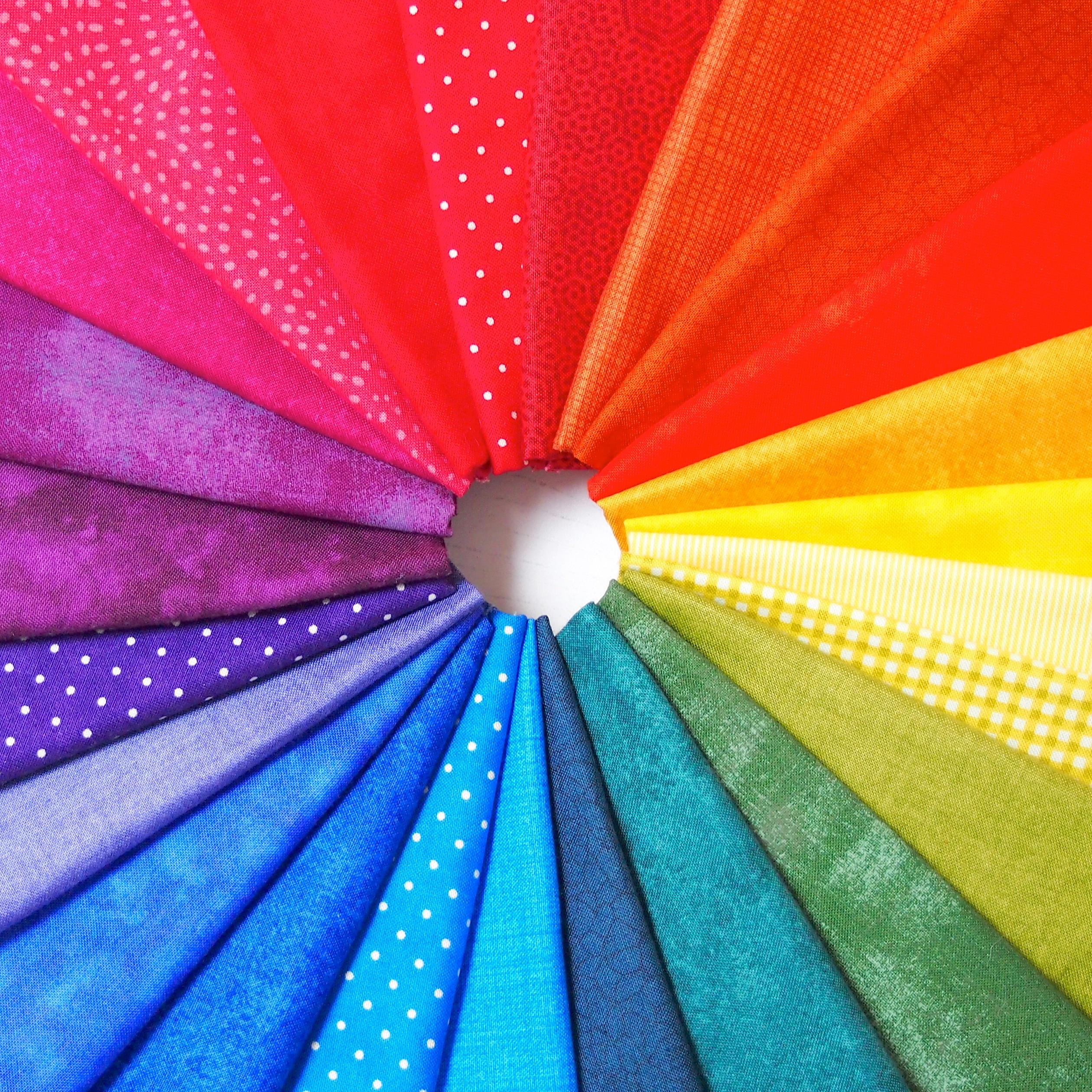 Patchwork fabric rainbow colour wheel
