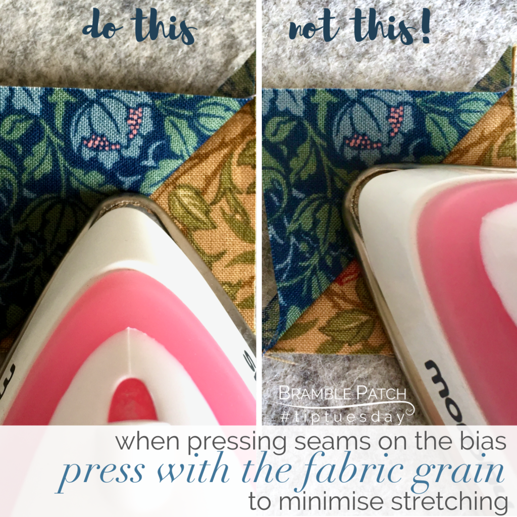 Press with the fabric grain on bias seams