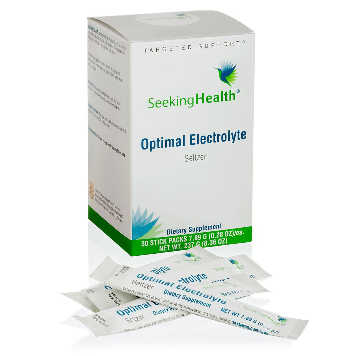 Optimal Electrolyte Seltzer stick packs plain from Seeking Health