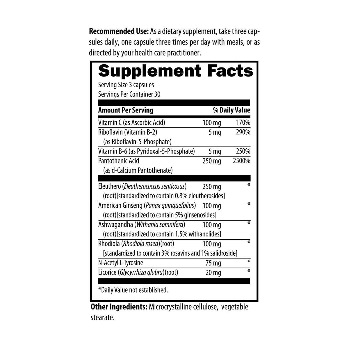 designs for health adrentone 90 capsules supplement facts and ingredients