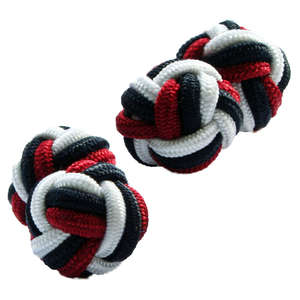 Black, Maroon and White Silk Knot Cufflinks from Cuffs & Co