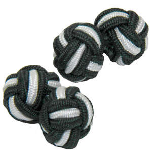 Dark Green and White Silk Knot Cufflinks from Cuffs & Co