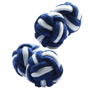 Navy and White Silk Knot Cufflinks from Cuffs & Co
