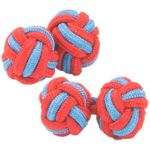 Red and Blue Silk Knot Cufflinks from Cuffs & Co