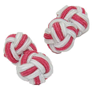 White and Blush Pink Silk Knot Cufflinks from Cuffs & Co
