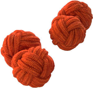 Burnt Orange Silk Knot Cufflinks from Cuffs & Co