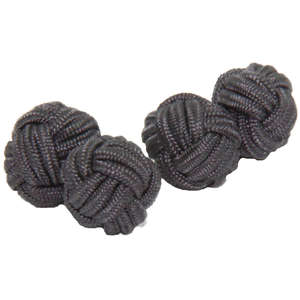 Graphite Grey Silk Knot Cufflinks from Cuffs & Co
