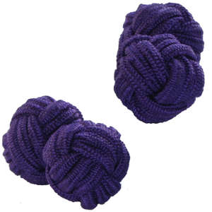 Rich Purple Silk Knot Cufflinks from Cuffs & Co