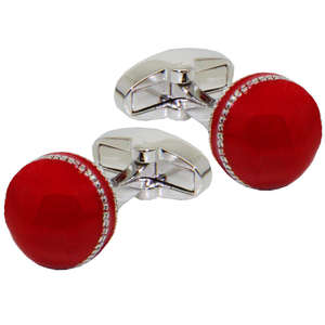 Red Cricket Ball Cufflinks from Cuffs & Co