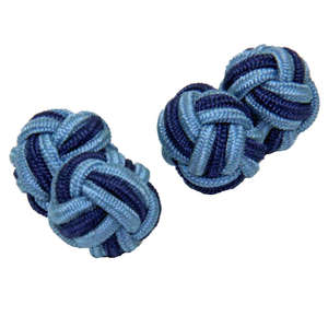 Light Blue and Mid Blue Silk Knot Cufflinks from Cuffs & Co