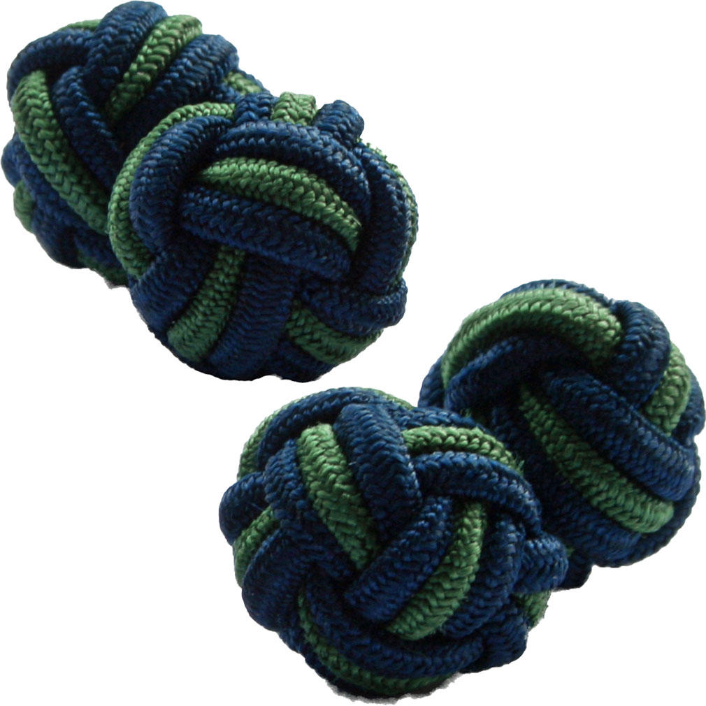 Navy Blue and Green Silk Knot Cufflinks from Cuffs & Co